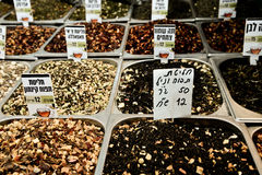 Market, Jerusalem, Israel. Spices, cakes, sweets, fruits, vegetables on display in Israeli Market, Jerusalem, Israel Royalty Free Stock Photography