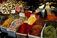 Market, Jerusalem, Israel. Spices, cakes, sweets, fruits, vegetables on display in Israeli Market, Jerusalem, Israel Stock Photography