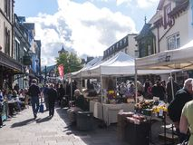 Market in Keswick in north-western England, in the heart of the Lake District. royalty free stock photo