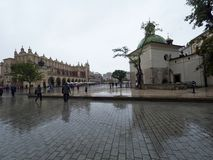 Market in Krakow during rain Royalty Free Stock Photography