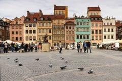 Market kvadrerar i den gammala townen. Warsaw. Polen Arkivfoton