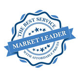 Market Leader. The best service with affordable prices. Blue label. Print colors used Stock Image