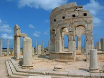 Market in Leptis Magna. Libya. Leptis Magna. Market. One from two tholoi (or kiosk) surrounded by porticoes stock image