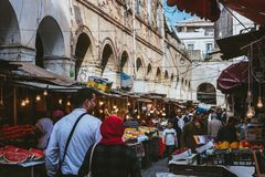 A splendid market in Algeria. This market is located in the historical district of Casbah in Algiers. It is full of fruits, vegetables and delicious sweets stock image
