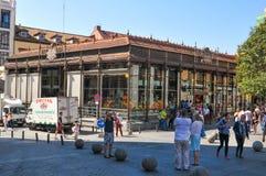 Market in Madrid, Spain. Madrid, Spain - April 10, 2016: Tourists visit the Market Mercado de San Miguel, major commercial landmark in central Madrid, Spain Royalty Free Stock Image