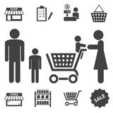 Market mall and shopping icons set Royalty Free Stock Images