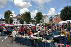 Market. Malmedy, Belgium - August 2010, view at a Marketplace in Malmedy Stock Image