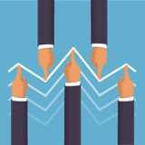 Market manipulation concept. In flat style - Businessman hands pushing the prices up and down. Helping the economy concept. Hands pushing the business graph up vector illustration