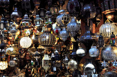 Market of Marrakesh in Morocco. Craftmanship in the Marrakesh market, Morocco Royalty Free Stock Photo