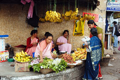 Market in Meghalaya-India. Customers are buying fruits at the Barabazar of Shillong-India.In Shillong is that the Khasi girls manage all the shops and markets Stock Photo