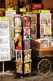 Market at Montmartre. Souvenir shop selling vintage posters, photographs, postcards and trinkets at the Sunday Market in Montmartre, Paris Royalty Free Stock Photos