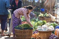 market myanmar nyaung u Fotografering för Bildbyråer
