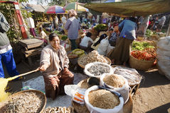 market myanmar nyaung u Royaltyfri Foto