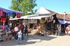 Market near Bran castle,  home of Dracula, Brasov, Transylvania. The medieval Bran Castle, which was once besieged by Vlad the Impaler, is a popular tourist Stock Photography