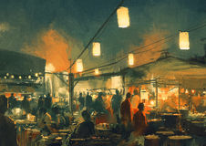 The market at night. Crowd of people walking in the market at night,digital painting Stock Image