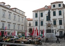 The market in Old Town Dubrovnik, Croatia. stock photo