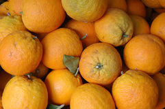 Market oranges. Oranges on display in a market stall, Mallorca, Spain royalty free stock photos