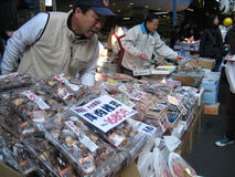 Market. Packaged products being sold at a market in Japan royalty free stock image