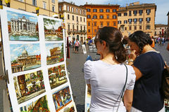 Market of paintings in Piazza Navona, Rome Royalty Free Stock Image