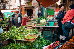 Market. PALERMO, ITALY - MARCH 13, 2015:  Grocery shop at famous local market Ballaro in Palermo, Italy Stock Images