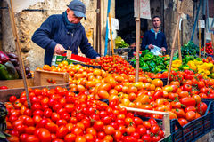 Market. PALERMO, ITALY - MARCH 13, 2015:  Grocery shop at famous local market Ballaro in Palermo, Italy Royalty Free Stock Photos