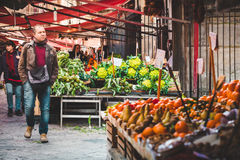 Market. PALERMO, ITALY - MARCH 13, 2015:  Grocery shop at famous local market Ballaro in Palermo, Italy Royalty Free Stock Images