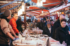 Market. PALERMO, ITALY - MARCH 13, 2015: Seafood and fish shop at famous local market Ballaro in Palermo, Italy Stock Photo