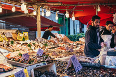 Market. PALERMO, ITALY - MARCH 13, 2015: Seafood and fish shop at famous local market Ballaro in Palermo, Italy Stock Photography