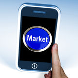 Market On Phone Means Marketing Advertising Sales Royalty Free Stock Photos