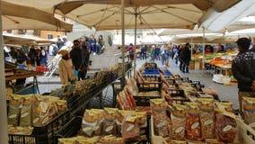 Market in piazza, Campo di Fiori, Rome, Italy Stock Image