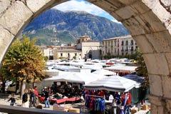 Market at Piazza Garibaldi in Sulmona, Italy stock images