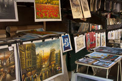 Market with pictures of paris Royalty Free Stock Photography