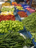 MARKET PLACE. With fresh vegetables row royalty free stock photos