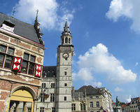 Market Place, Aalst, Belgium. AALST, BELGIUM, SEPTEMBER 16 2014: The Grote Markt in Aalst, with the old Belfort and surrounding buildings. Aalst is a large town Royalty Free Stock Photos