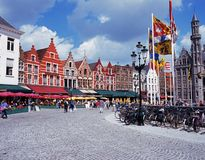 The Market Place, Bruges. Stock Photo