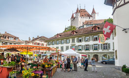Market place with Castle of Thun - Switzerland Royalty Free Stock Images