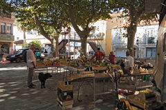 Market place in Cerbere, France Royalty Free Stock Images