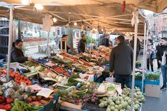 Market at Place des Chasseurs Ardennais in Brussels. Fruits and vegetables stand at the Place des Chasseurs Ardennais in Brussels, Belgium, on 16. February 2018 Royalty Free Stock Images