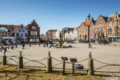 Market place in Husum with Tine fountain. On a sunny day in spring Stock Photography