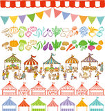 Market place illustrations and event tents frames. Market place with variety of food and vegetables at stands. event tents lines royalty free illustration