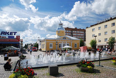 Market place of Kajaani in sunny day Royalty Free Stock Images