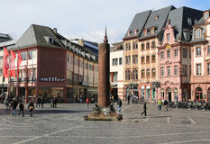 Market place with landmark,historic buildings and people. MARCH 30-MAINZ,GERMANY-Market place with landmark,historic buildings and people.March 30,2015 in Mainz Royalty Free Stock Photo