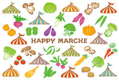 Market place postcard with event tents and vegetables. Royalty Free Stock Photos