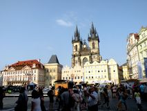 Market Place in Prague 5. Prague, an exceptional tourist destination. Beautiful buildings and monuments in the city center. Old Town with the city and houses sec Stock Photos