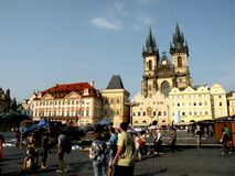 Market Place in Prague 4. Prague, an exceptional tourist destination. Beautiful buildings and monuments in the city center. Old Town with the city and houses sec Stock Photo
