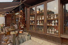 Market place2. Shop at Sarajevo old Town Bascarsija for copper utensils and souvenirs Royalty Free Stock Photo