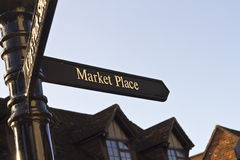 Market place signpost. In traditional English town Stock Image