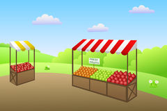 Market place street food fruit vegetable illustration Royalty Free Stock Images