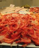 Market place in Torrevieja, Spain, with shrimps, mussles and other seafood for sale Stock Photo