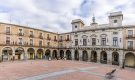 Market place with Town Hall in Avila stock image